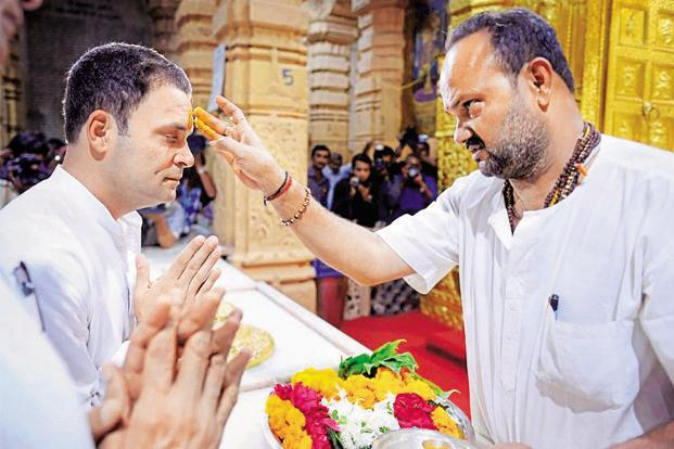 Congress vice president Rahul Gandhi visited the Somnath temple on Wednesday, as part of his campaign for Gujarat elections. Photo: PTI