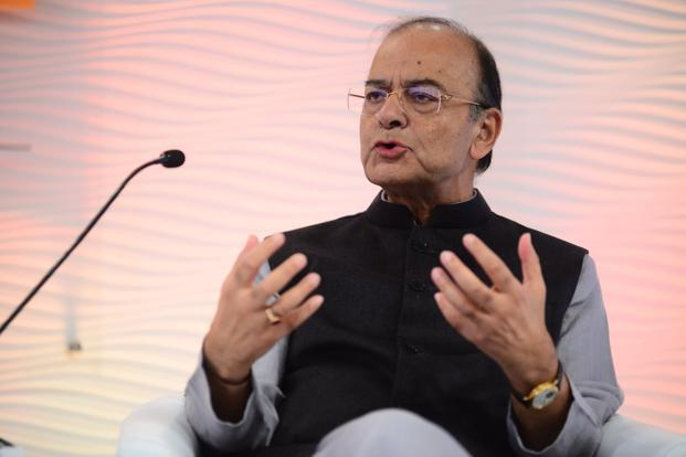 FM Arun Jaitley at the HT Leadership Summit on Thursday. The finance minister ruled out privatisation of state-run banks but hinted at GST rationalization. Photo: Pradeep Gaur/Mint
