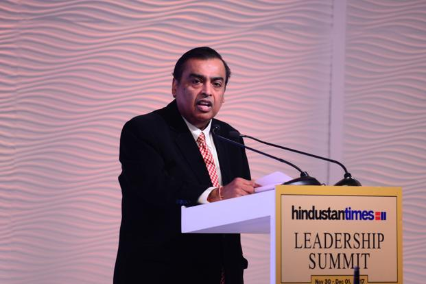 Mukesh Ambani at HT Leadership Summit 2017 said that as energy and information converges in future, Reliance will contribute even more to the country's growth. Photo: Pradeep Gaur/Mint
