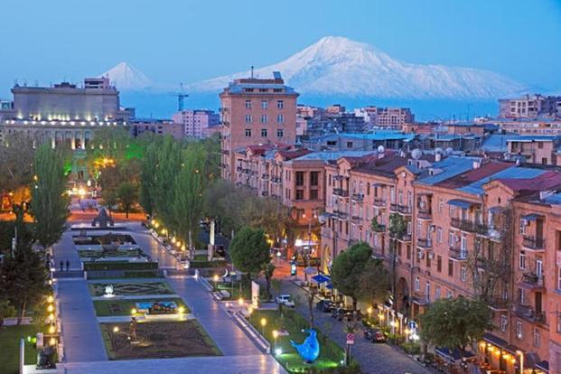 Yerevan at dawn, seen from the Great Cascade. Photo: Alamy