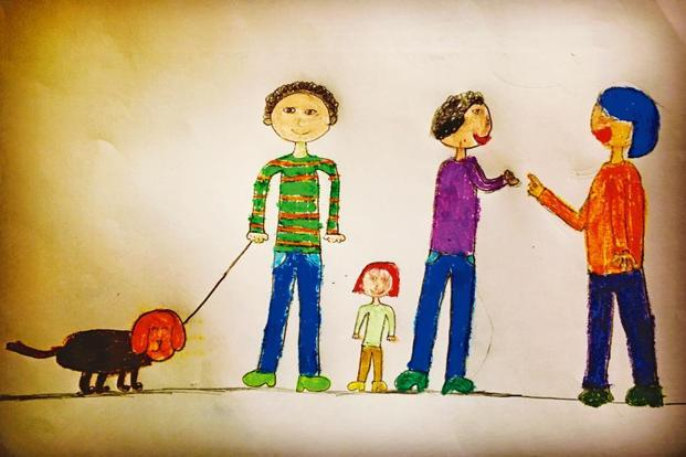 How adults talk to each other, possibly about the welfare of their children. Illustration: Naseem Beg