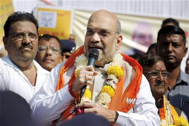 Amit Shah says Congress' loss is such that the BJP won all the municipal corporation seats even in Rahul baba's Amethi constituency. Photo: PTI