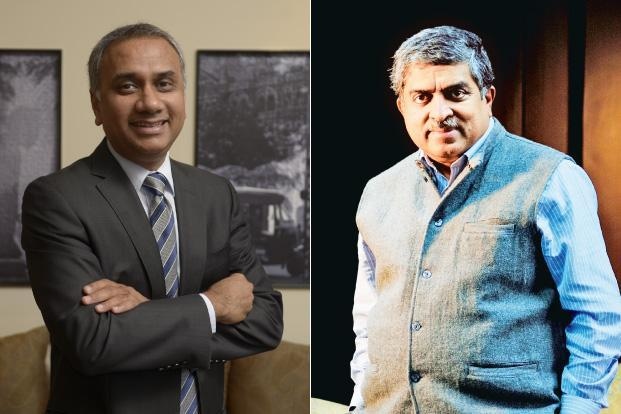 Infosys's newly appointed CEO Salil Parekh (left), who takes over on 2 January, and non-executive chairman Nandan Nilekani. Photos by Abhijit Bhatlekar and Pradeep Gaur/Mint