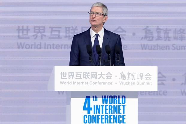 Apple CEO Tim Cook gave a surprise keynote at the opening ceremony on Sunday, calling for future internet and AI technologies to be infused with privacy, security and humanity. Photo: Reuters