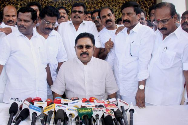 T.T.V. Dhinakaran has been campaigning for eight months under the symbol of 'hat'. Photo: PTI