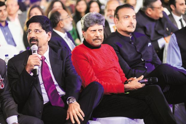 Former India cricket team captains (from left) Krishnamachari Srikkanth, Kapil Dev and Ravi Shastri at the award function. Shastri, Indian cricket team's coach, got a special commendation. Photo: Pradeep Gaur/Mint