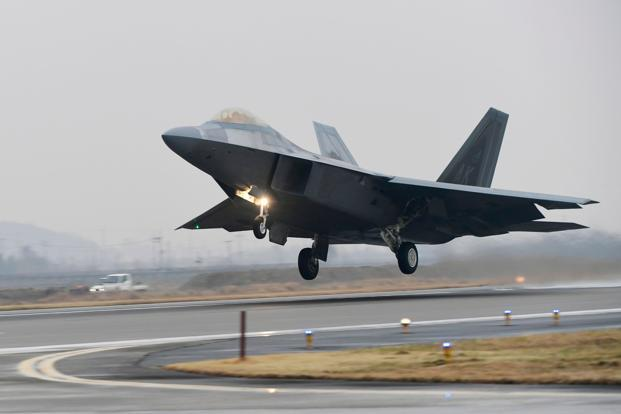 A US Air Force F-22 Raptor stealth jet takes off at a South Korean air base in Gwangju on Sunday. The US and South Korea kicked off joint air exercise. Photo: AFP