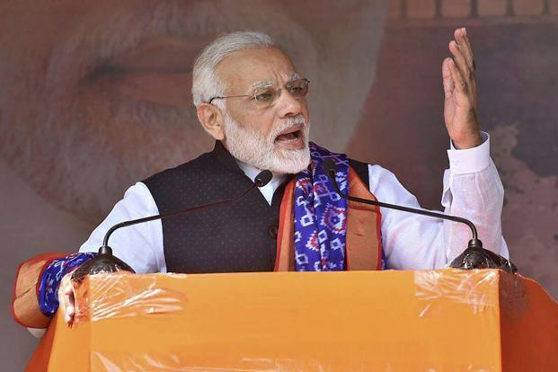 Prime Minister Narendra Modi said Congress has gone bankrupt, as it is going to make a person who is out on bail in corruption case its president. Photo: PTI