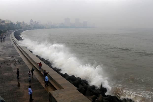 High tides triggered by Cyclone Ockhi at Marine Drive in Mumbai on Tuesday. Photo: Reuters