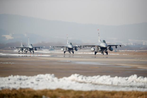 The drills involve 230 aircraft and 12,000 American troops, in what North Korea has dubbed the largest-ever joint aerial exercise. Photo: Reuters