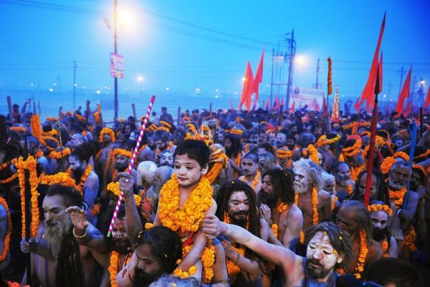 The Kumbh Mela held in Allahabad Haridwar Ujjain and Nasik represents a syncretic set of rituals related to worship and cleansing in holy rivers