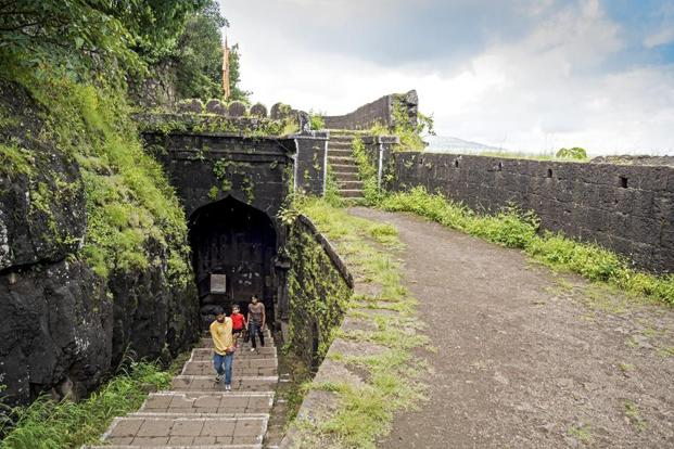 The entrance gate of Ajinkyatara Fort.
