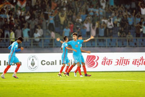 Jeakson Singh (centre) celebrating his goal against Colombia during the U-17 World Cup at Jawaharlal Nehru Stadium in New Delhi.