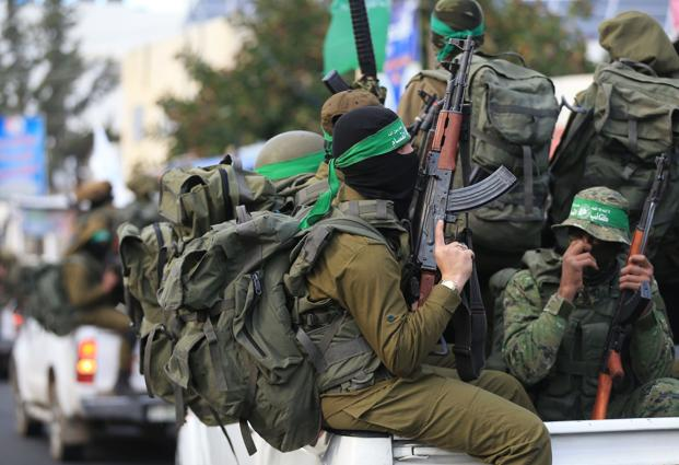 Palestinian Hamas militants take part in a rally in Beit Hanun in the northern Gaza Strip, on 7 December 2017, against US President Donald Trump's recognition of Jerusalem as Israel's capital. Photo: AFP