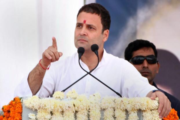 Congress vice president Rahul Gandhi addresses an election campaign rally at Anjar in Kutch district of Gujarat on Tuesday. Photo: PTI