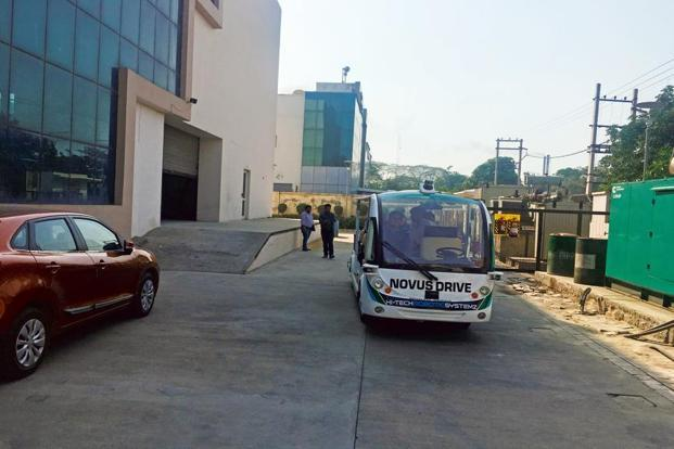 An autonomous shuttle with people on board on the premises of Hi-Tech Robotic Systemz in Gurugram. Photo: Sunny Sen/FactorDaily