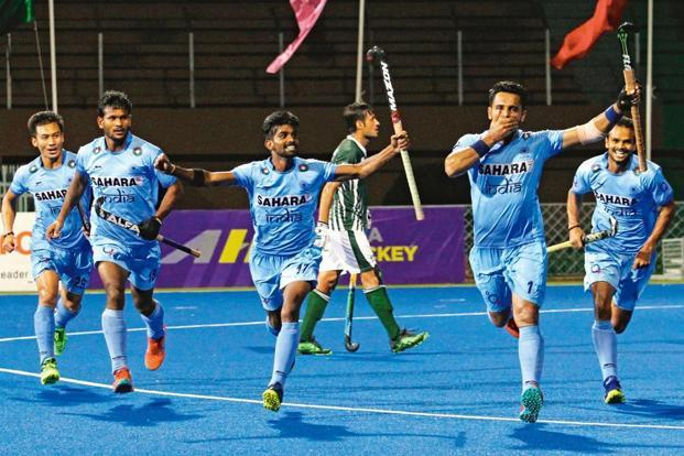 The Indian team celebrates a win over Pakistan in the Asia Cup. Photo: PTI