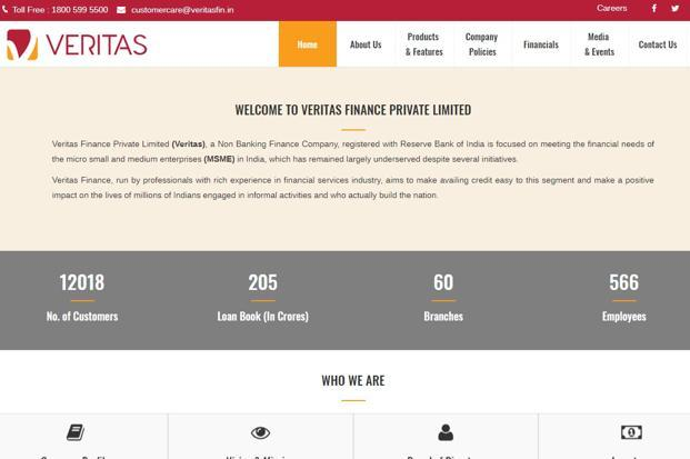 Founded in 2015, Chennai-based Veritas Finance was registered as a non-banking financial company (NBFC) by the Reserve Bank of India (RBI) in October 2015.