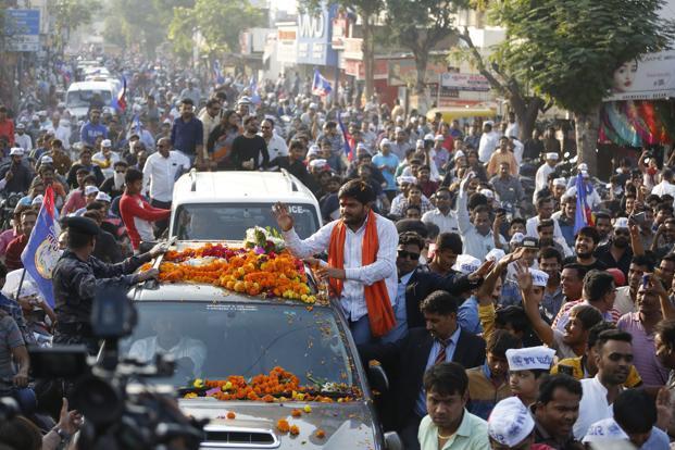 Hardik Patel during his road show in Ahmadabad on 11 December. Photo: AP