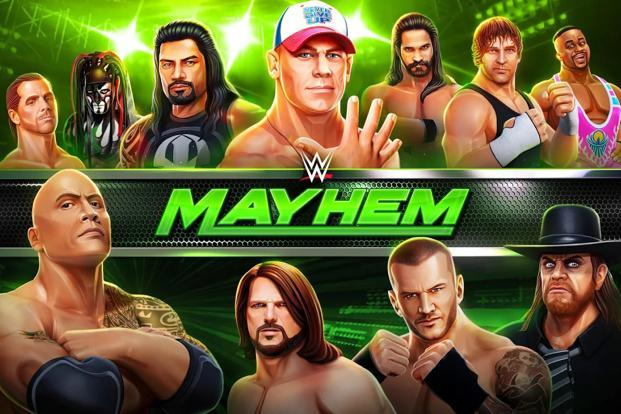 WWE Mayhem offers access to fully licensed tournaments such as WWE RAW and SmackDown and top fighters such as John Cena,