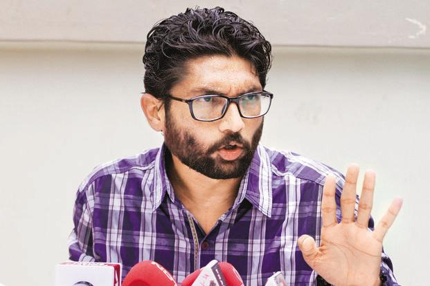 Jignesh Mevani, who has been critical of the ruling BJP in the state, shot to fame after seven Dalit youths were flogged allegedly by self-styled cow vigilantes at Una last year. Photo: HT
