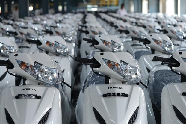 Honda Activa scooters at HMSI's Karnataka plant. Honda says it's the leader in 15 states and two UTs of India accounting for 52% of all two-wheelers sold in India. Photo: Hemant Mishra/Mint