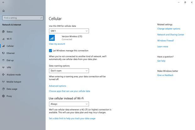 Microsoft has added a data management page, similar to the one available on Android smartphones.