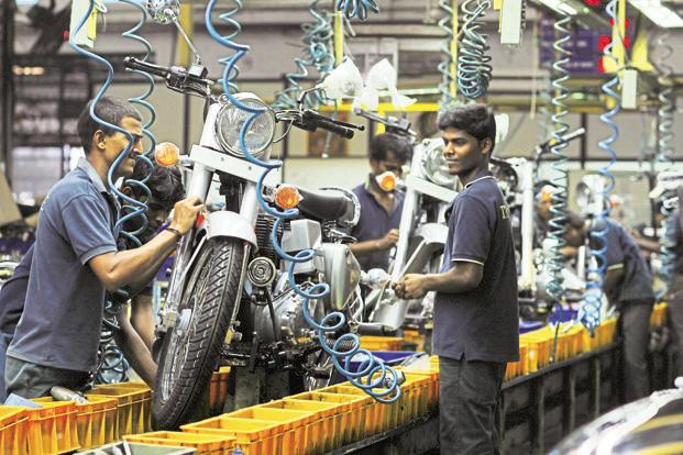 The Royal Enfield factory in Chennai. The premium segment, comprising motorcycles with engine displacement between 150cc and 500cc, has grown the quickest this year. Photo: SaiSen/Mint