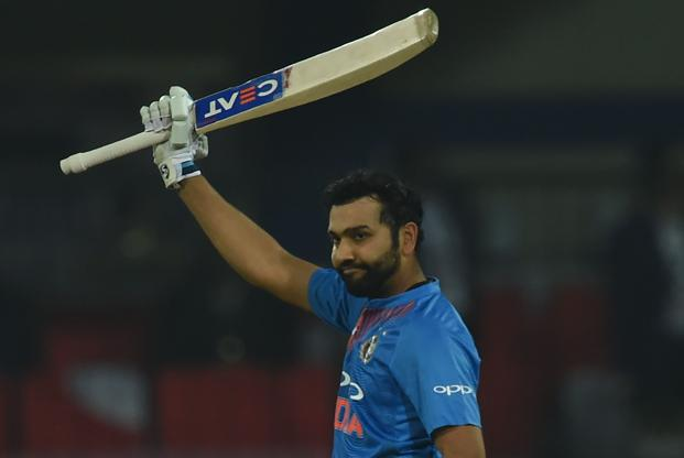Rohit Sharma smashed 10 sixes and 12 fours before he was eventually dismissed for 118 in 43 balls. Photo: AFP