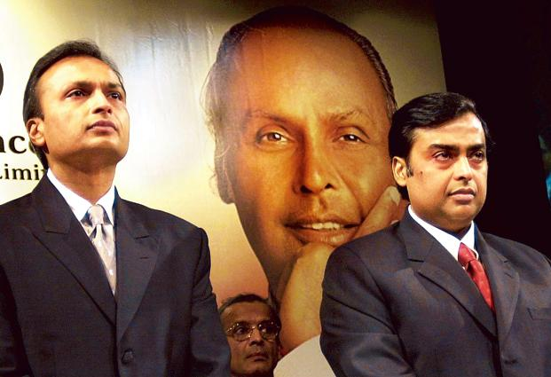 A file photo of Mukesh Ambani (right) and Anil Ambani. Photo: AFP
