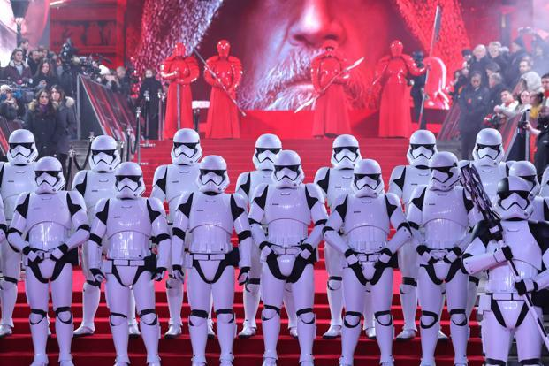 Revenues for 'Star Wars: The Last Jedi' dropped 54% from the previous weekend, a typical decline for major blockbusters and a rebound from a larger decline through Sunday. Photo: Reuters