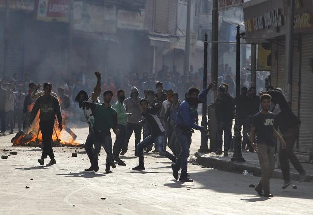 Massive protests erupted in Kashmir following the killing of Burhan Wani in July 2016, leading to repeated clashes between the armed forces and 'stone-pelters'. Photo: Reuters