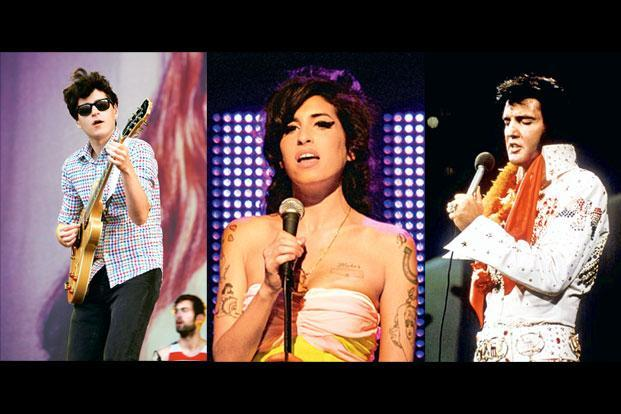 Musicians over the decades: (from left) Ezra Koenig of Vampire Weekend. Photo: Getty Images, the late Amy Winehouse and Elvis Presley.  Photo: Reuters