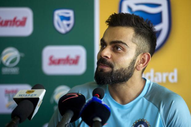 Indian cricket captain Virat Kohli attends a press conference in Cape Town, South Africa on Saturday. India are to play a three-test series against South Africa, starting 5 January. Photo: AP
