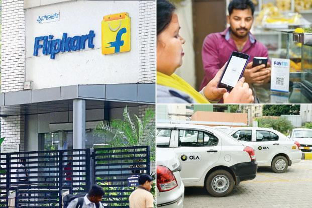 More than half of all start-up funding in 2017 went to just three companies, online retailer Flipkart, payments firm Paytm and cab-hailing app Ola. Photo: Hemant Mishra/Mint
