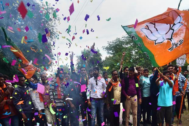 We are told by election pundits that the traders in Surat decided to vote for the BJP in Gujarat despite their initial distress with GST's structuring because the government at the Centre relaxed the voucher-based filing frequency for small traders. Photo: PTI