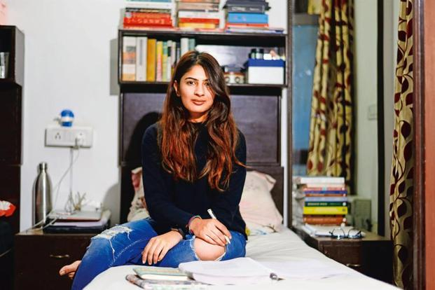 Gurmehar Kaur in her hostel room. Photo: Pradeep Gaur/Mint