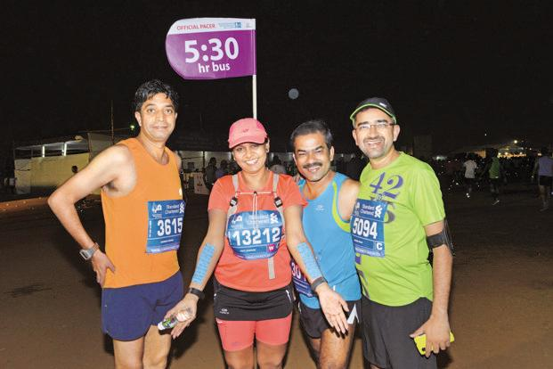A pacer (second, from left) at a previous edition of the Mumbai Marathon. Courtesy: Procam