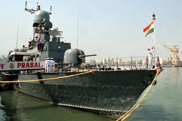 "Goa Shipyard and South Korea's Kangam Corporation were to build 12 minesweepers in India under the Make in India initiative and the deliveries were to be completed within nine years of the start of the project. Above, ""Prabal"" Indian Navy's warship. Photo: HT"