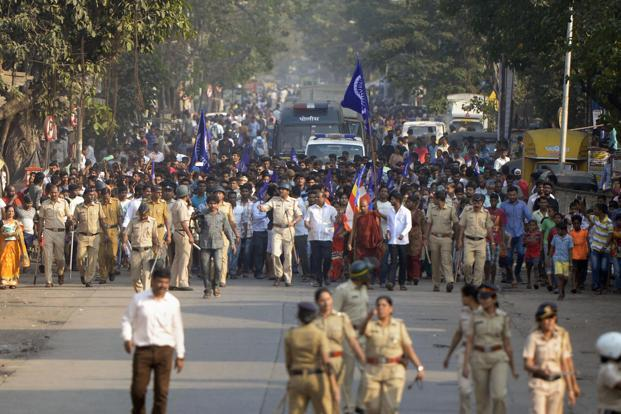 A file photo of Dalit protestors protesting against the violence in Bhima Koregaon area of Pune. Photo: PTI
