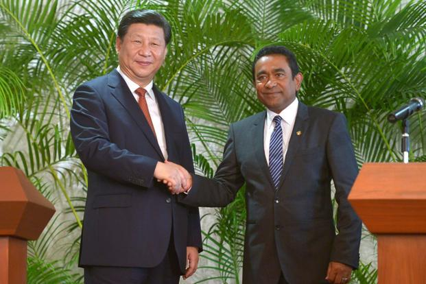 A file photo of Chinese President Xi Jinping and  Maldives President Abdulla Yameen. The Maldives has previously endorsed China's ambitious Maritime Silk Road project shunned by India for its strategic implications in the Indian Ocean.