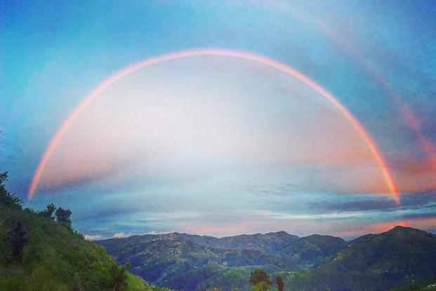 A rainbow spans the Banlekhi valley. Photo: Vaibhav Mehta