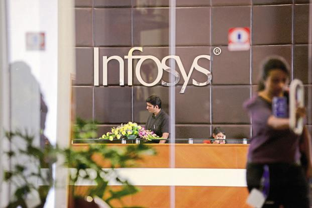 Stripped of a one-time gain in the US Infosys's quarterly profit would have been down 1.2% sequentially to $571 million