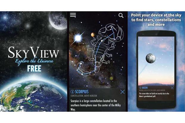 SkyView Free app uses the camera to spot and identify celestial objects in the sky.