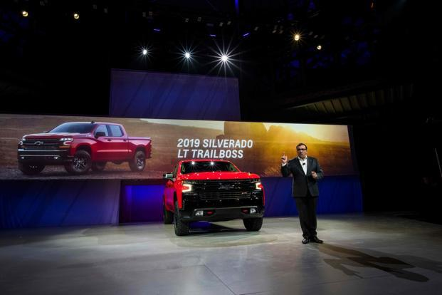 General Motors North America president Alan Batey speaks as he unveils the 2019 Chevrolet Silverado during the 2018 North American International Auto Show in Detroit Michigan on Saturday