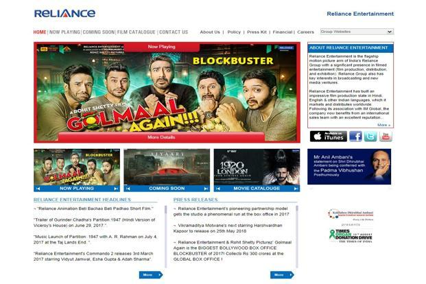 Screen grab of Reliance Entertainment's website. 'Golmaal Again' is the only Hindi film not featuring one of the three Khans to cross the Rs200 crore mark.