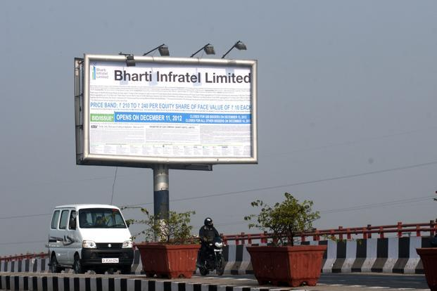 Revenue from operations of the Bharti Infratel, which owns a stake in India's biggest mobile tower company Indus Towers, rose nearly 11% to Rs1,697 crore. Photo: Mint
