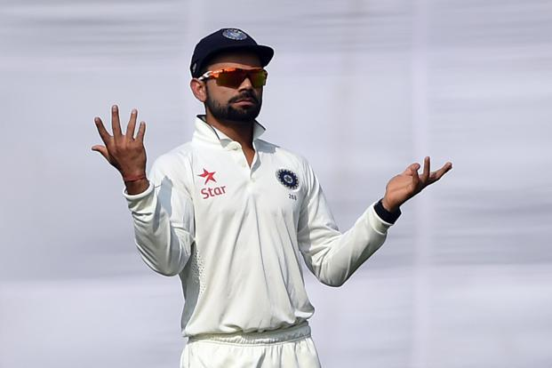 Virat Kohli was fined 25% of his match fee for showing dissent against the umpire during the third day of the second Test. Photo: AFP