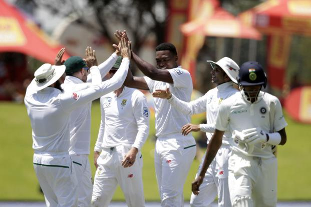 Lungi Ngidi was the pick of the bowlers for South Africa, picking up a six-wicket haul in the innings and a match haul of seven on debut. Photo: AFP