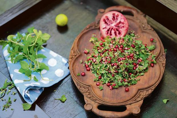 Parsley and Pomegranate Salad by Chef Kunal Kapoor.
